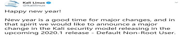 新年伊始-Kali Linux 将默认以非 root 身份运行
