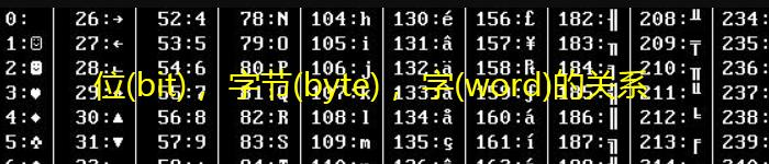 计算机中位(bit), 字节(byte), 字(word)的关系