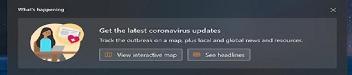 Win10搜索功能现在已经内置了COVID-19追踪器