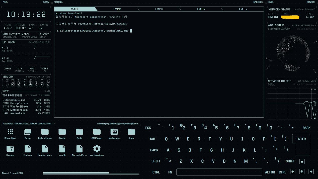 酷炫的终端模拟器eDEX-UI酷炫的终端模拟器eDEX-UI