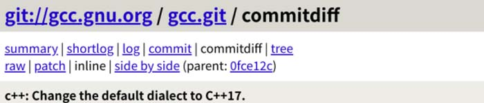GCC11升级:默认前端语言更换为C++17