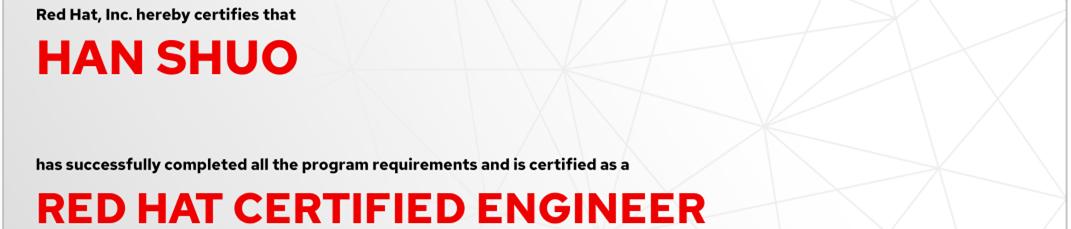 捷讯:韩硕7月29日北京顺利通过RHCE认证。