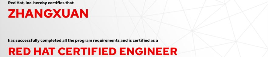 捷讯:张轩8月10日深圳顺利通过RHCE认证。