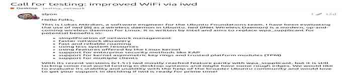 Ubuntu 正考虑使用 Intel IWD取代 WPA_Supplicant 作为 iNET 无线守护程序