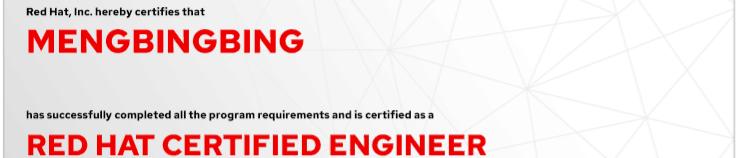 捷讯:孟冰冰7月24日北京顺利通过RHCE认证。