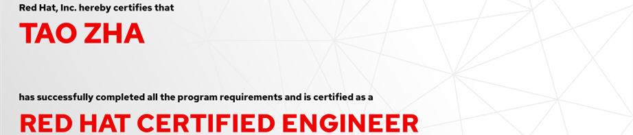 捷讯:查韬9月21日上海顺利通过RHCE认证。