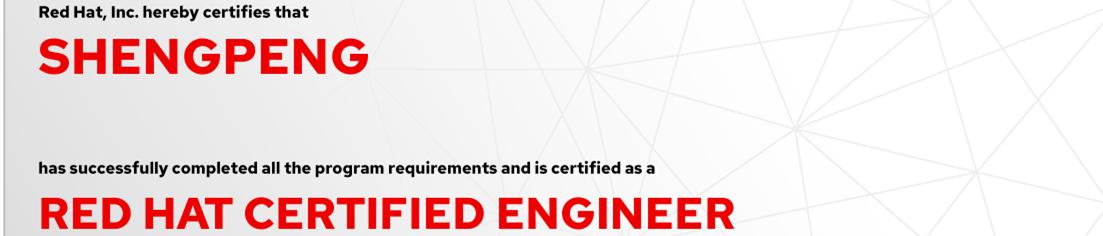 捷讯:盛鹏11月27日上海顺利通过RHCE认证。