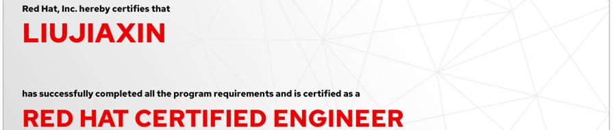 捷讯:刘家鑫12月4日北京顺利通过RHCE认证。
