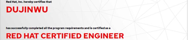 捷讯:杜金武12月4日北京顺利通过RHCE认证。