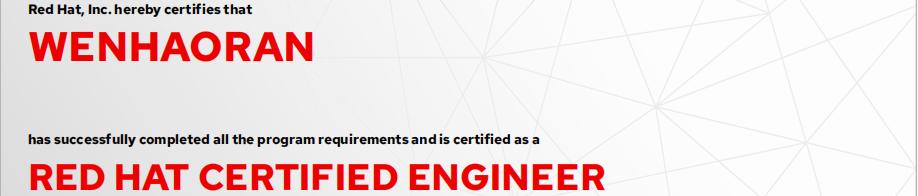 捷讯:温浩然12月4日北京顺利通过RHCE认证。