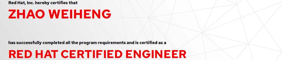 捷讯:赵伟恒5月31日上海顺利通过RHCE认证。