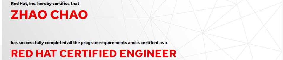 捷讯:赵超6月11日上海顺利通过RHCE认证。