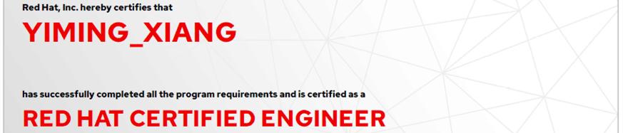 捷讯:项益明6月11日上海顺利通过RHCE认证。