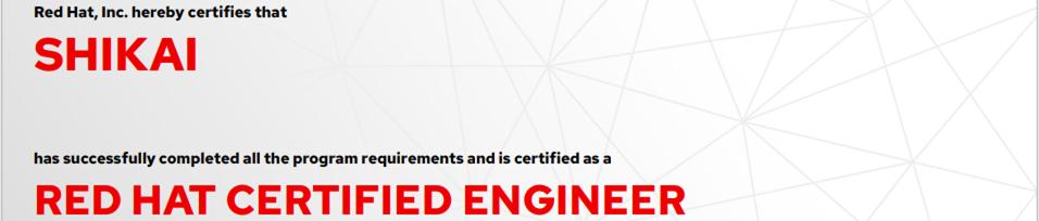 捷讯:石凯6月2日南京顺利通过RHCE认证。