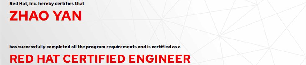 捷讯:赵大海8月25日成都顺利通过RHCE认证。