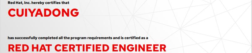 捷讯: 崔亚东9月7日北京顺利通过RHCE认证。