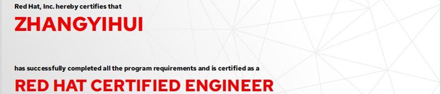 捷讯:张毅辉9月6日北京顺利通过RHCE认证。