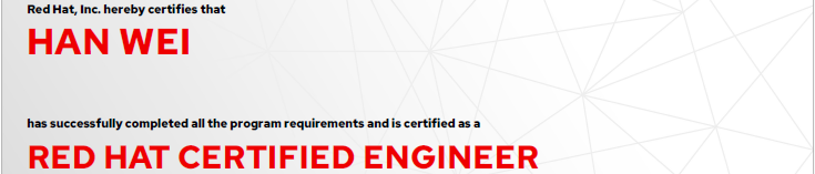 捷讯:韩玮9月3日上海顺利通过RHCE认证。