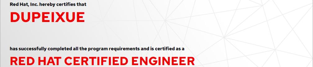 捷讯:杜培学9月6日北京顺利通过RHCE认证。